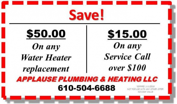 Save $50 on Water Heater Replacement or $15 on any service call over $100
